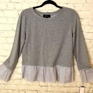 BCX grey sweatshirt knit top with faux layering